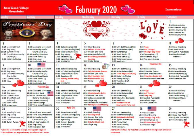 Assisted Living February 2020 Calendar