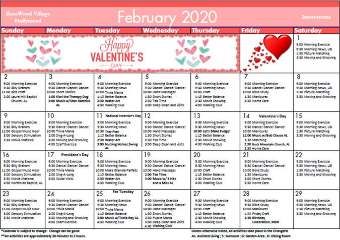 Innovations February 2020 Calendar