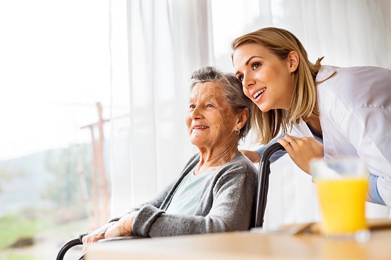 senior looking at senior communities