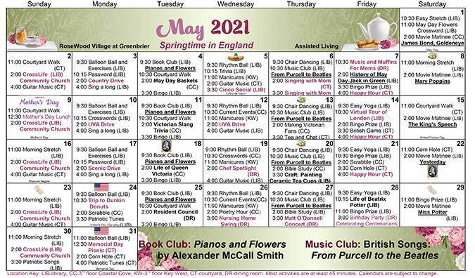 Assisted Living May 2021 Calendar