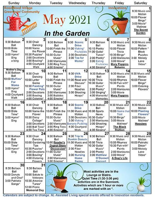 May 2021 Innovations Calendar