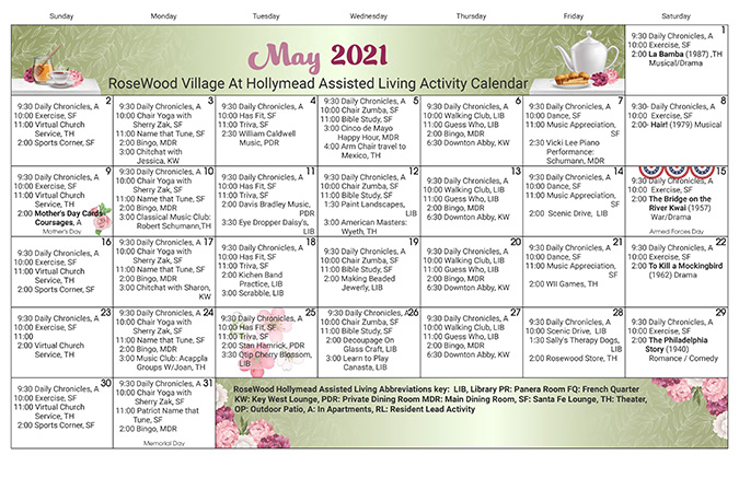 May Assisted Living Calendar 2021